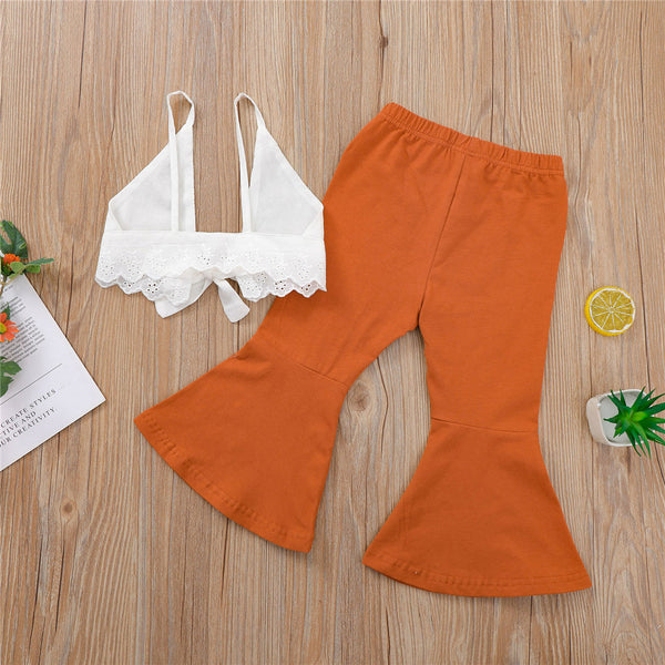 Girls Sleeveless Tie Up Solid Top & Bell Trousers Girls Clothes Wholesale