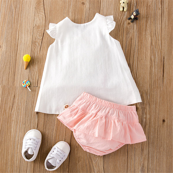 Baby Girls Sleeveless Top & Shorts baby clothes wholesale