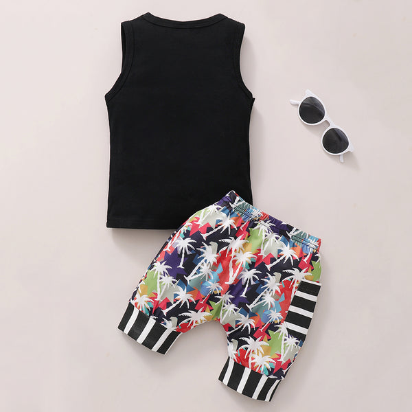 Boys Sleeveless Tree Printed Top & Shorts baby boy clothes wholesale