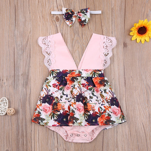 Baby Girls Sleeveless V-Neck Floral Printed Romper & Headband baby clothes vendors