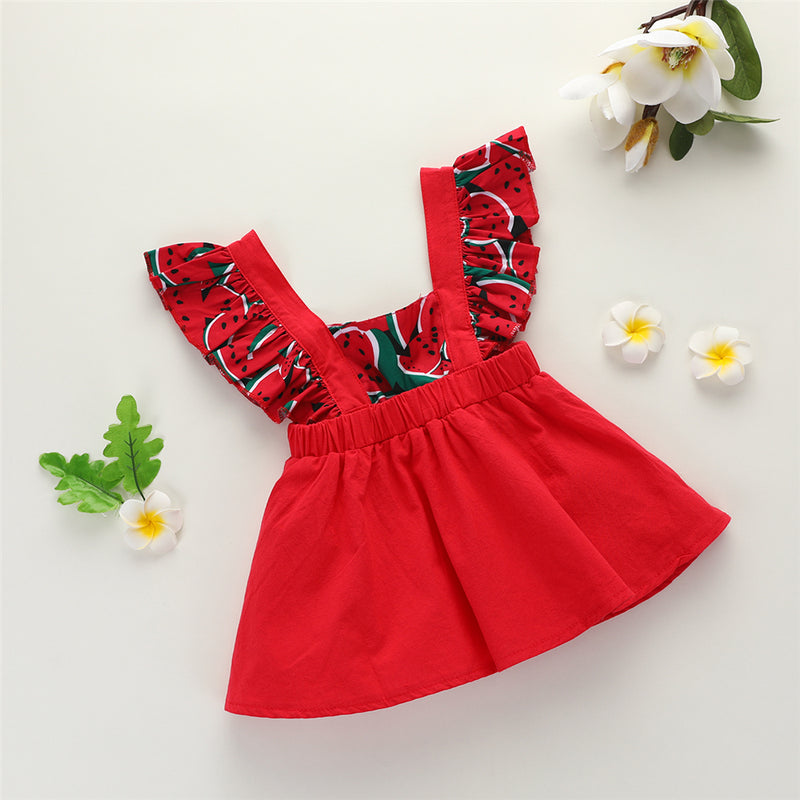 Baby Girls Sleeveless Watermelon Printed Fashion Dress Wholesale Baby Boutique Items