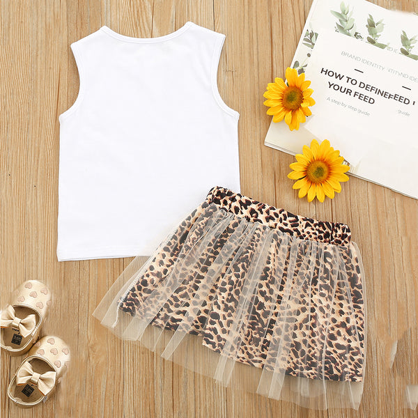 Girls Sleeveless White Top & Leopard Mesh Skirt childrens wholesale clothing