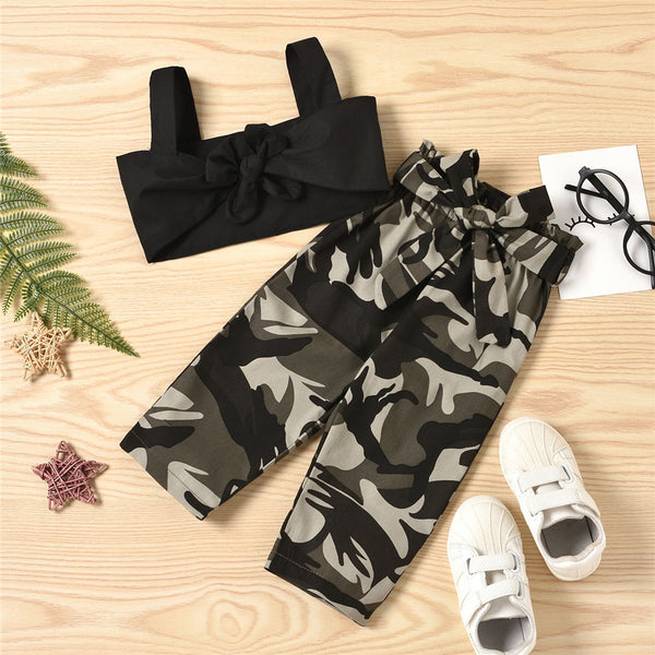 Girls Sling Black Top & Camo Pants wholesale childrens clothing
