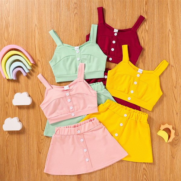 Girls Sling Solid Button Top & Shorts Casual Suit girls boutique clothing