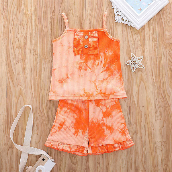 Girls Sling Tie Dye Top & Shorts wholesale kids boutique clothing