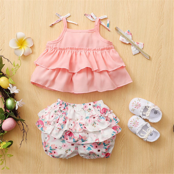 Baby Girls Sling Top & Floral Shorts & Headband baby clothing wholesale