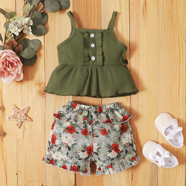 Girls Sling Top & Floral Shorts trendy kids wholesale clothing