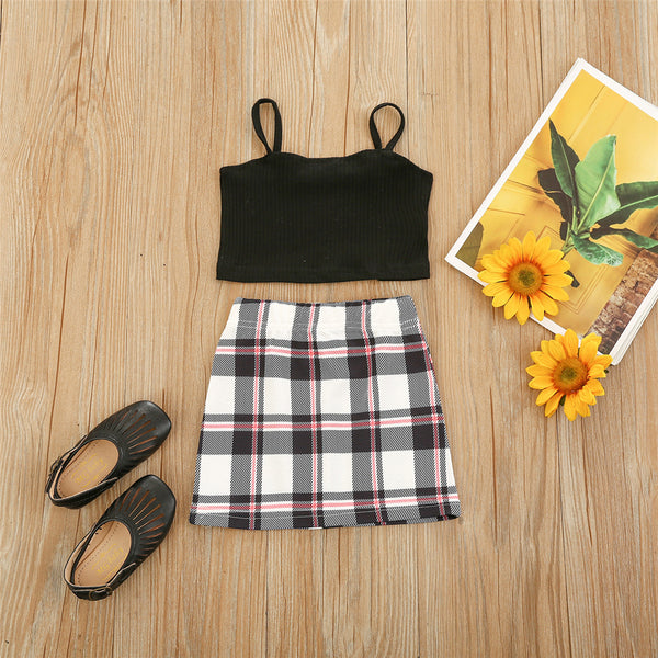 Girls Sling Top & Plaid Skirt kids clothing wholesale