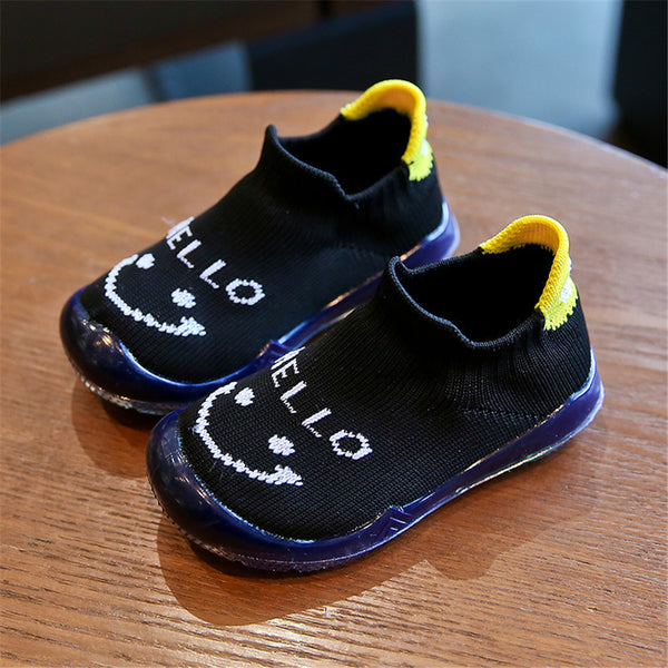 Baby Unisex Slip On Cartoon Letter Mesh Flat Shoes