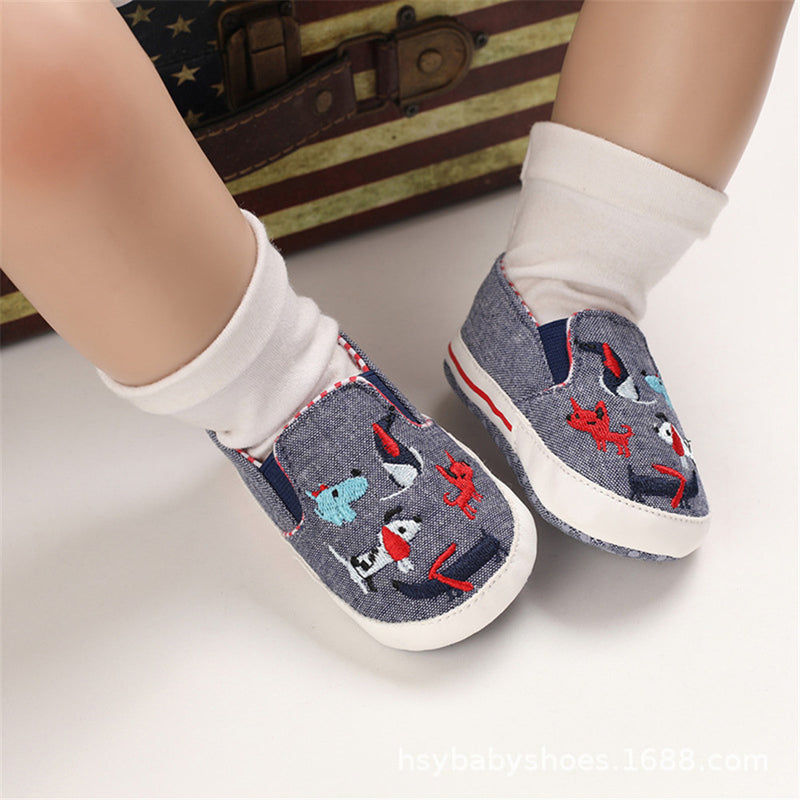 Baby Boys Canvas Slip On Embroidery Flats Spanish Baby Shoes