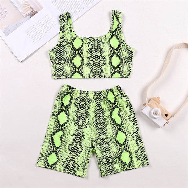 Girls SnakeSkin Printed Green Sling Top & Shorts Mommy And Me Wholesale