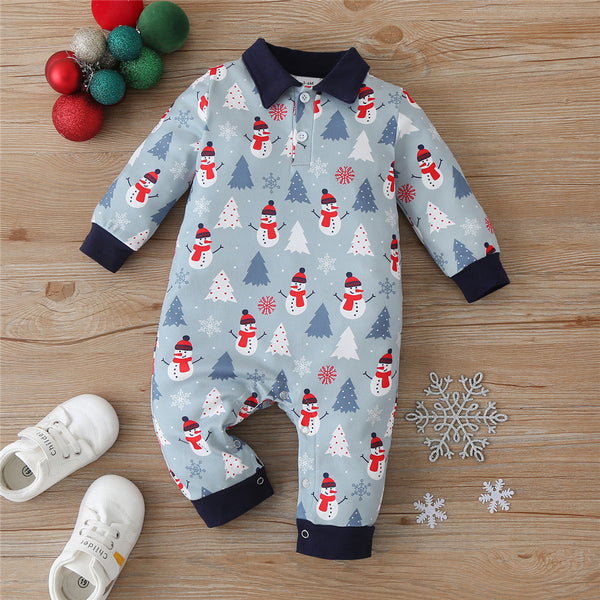 Baby Boys Snowman Lapel Long Sleeve Romper Wholesale Baby Outfits