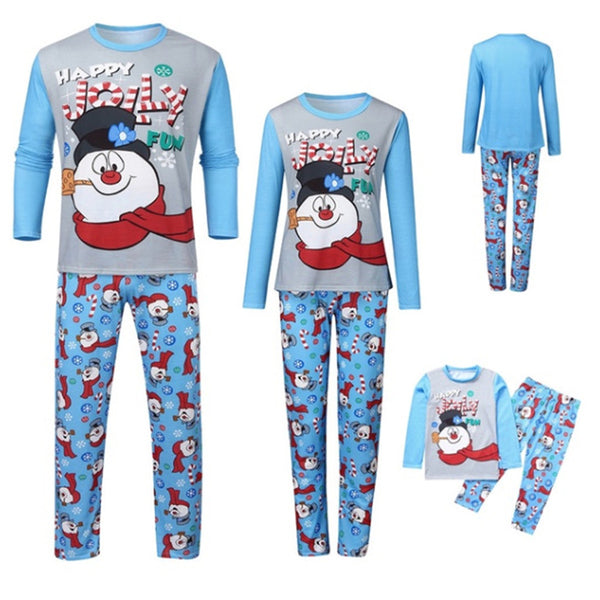 Parent-Child Snowman Printed Top & Pants Mommy And Me Clothing Wholesale