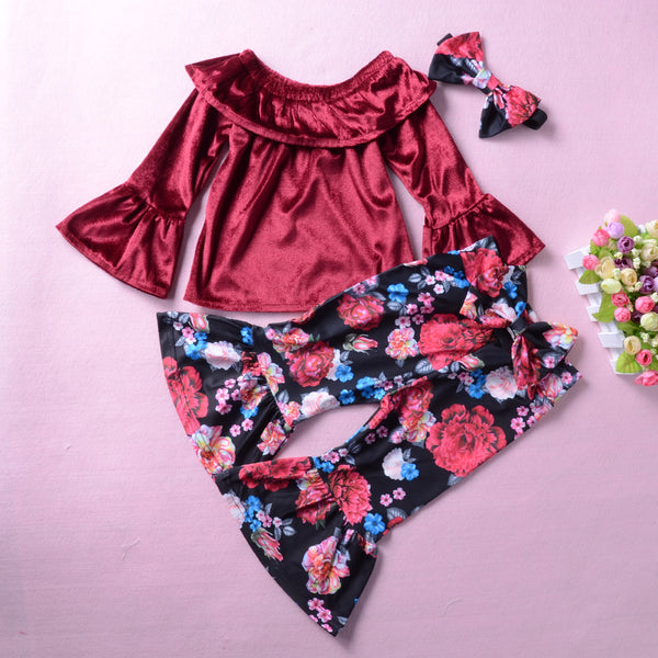 Toddler Girls Soft Flare Sleeve Off Shoulder Top & Floral Bell Pants Wholesale