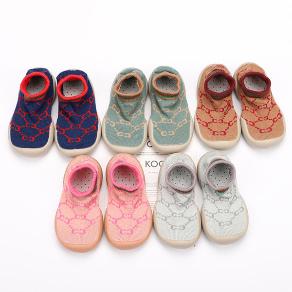 Baby Soft Knitted Printed Sock Flat Shoes