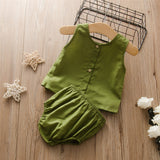 Baby Girls Sold Color Sleeve Top & Shorts Wholesale Designer Baby Clothes