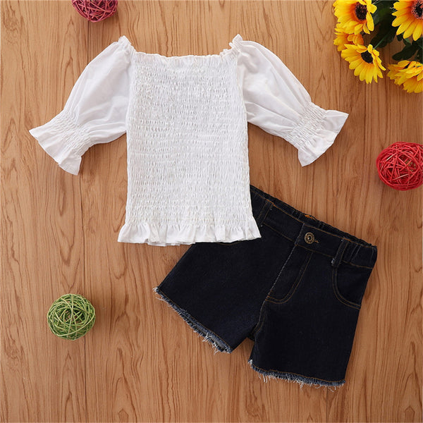 Girls Solid 3/4 Seeve Top & Denim Shorts kids wholesale clothing