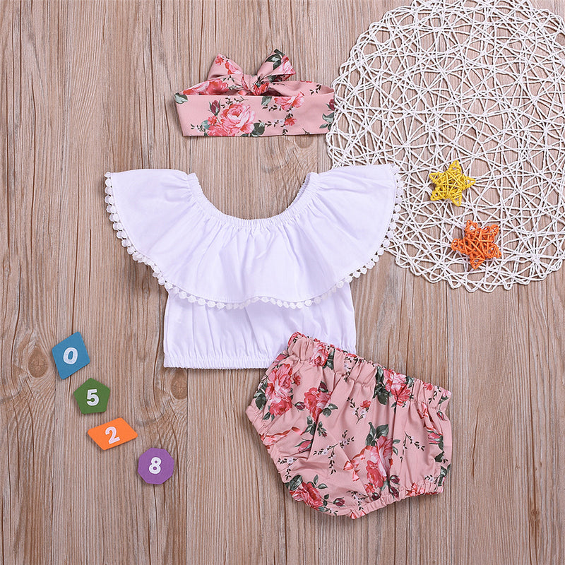 Baby Girls Solid Ball Collar Top & Floral Printed Shorts & Headband Cheap Bulk Baby Clothes