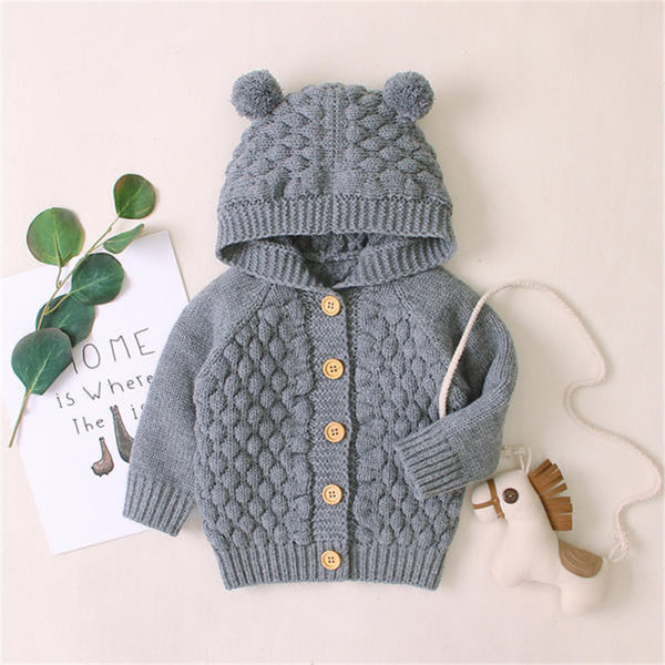 Baby Solid Bear Long Sleeve Hooded Sweaters