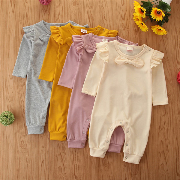 Baby Girls Solid Bow Decor Long Sleeve Baby Rompers Wholesale