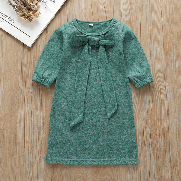 Girls Solid Bow Decor Long Sleeve Dress Baby Girl Wholesale Boutique