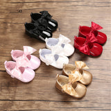 Baby Girls Solid Bow Decor Soft Flats Shoes