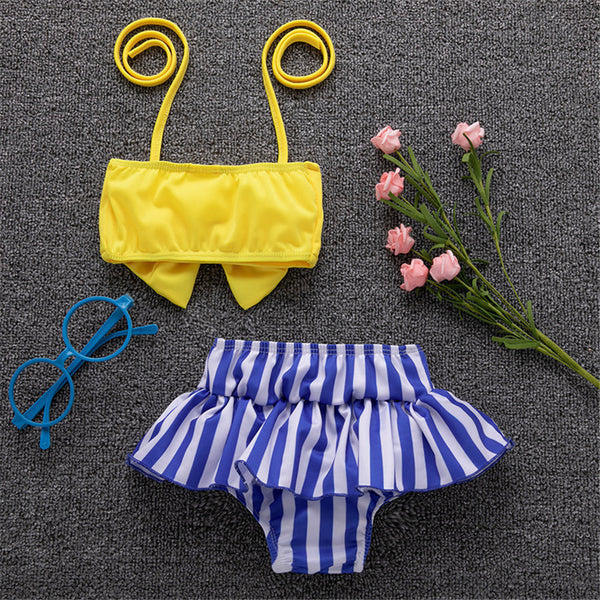 Girls Solid Bow Top & Striped Shorts Swimming Suit 2 Piece Swimsuit With Shorts