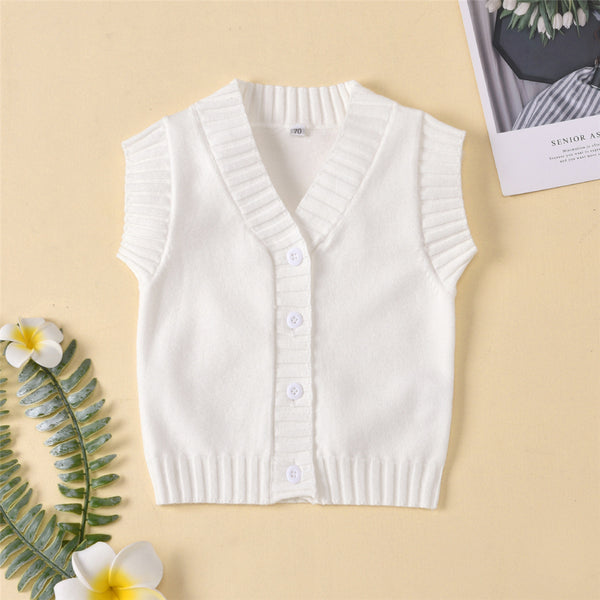 Baby Unisex Solid Button Cardigan Sweater Vest Baby Clothing Wholesale