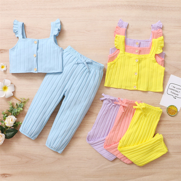 Girls Solid Button Flutter Sleeve Top & Pants kids wholesale clothing