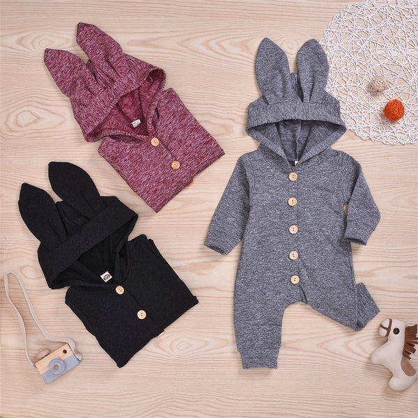 Baby Unisex Solid Button Hooded Cute Warm Romper Baby Clothing Distributor
