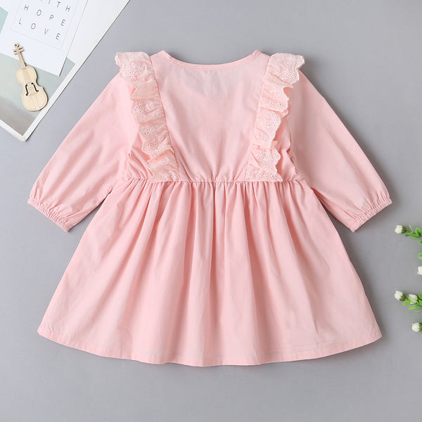 Baby Girls Solid Button Lace Collar Long Sleeve Tutu Dress