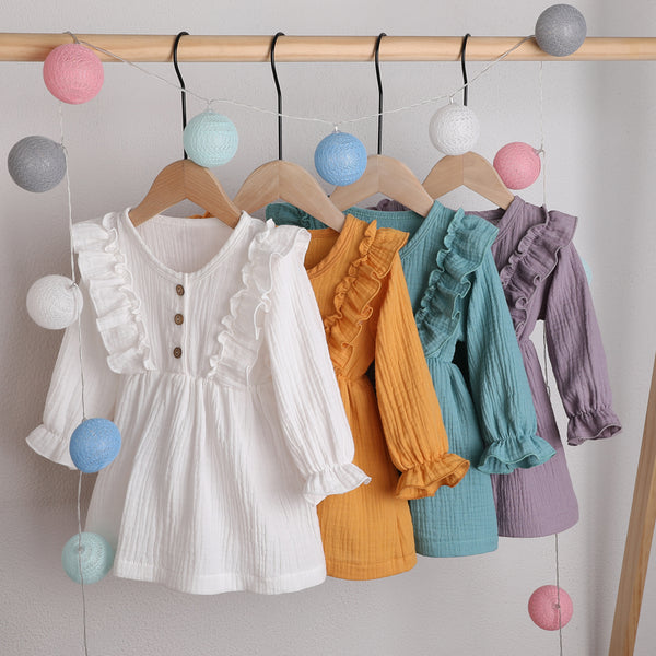 Toddler Girls Solid Button Long Sleeve Cotton Blouse Girl Wholesale