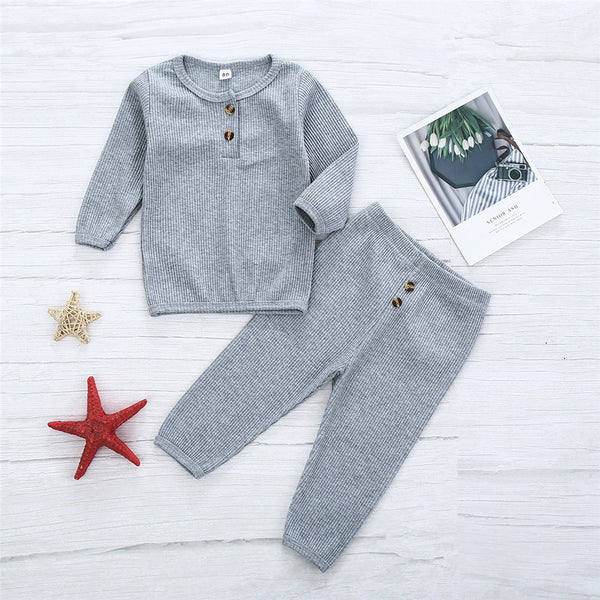 Girls Solid Button Long Sleeve Crew Neck Top & Pants Wholesale Girls