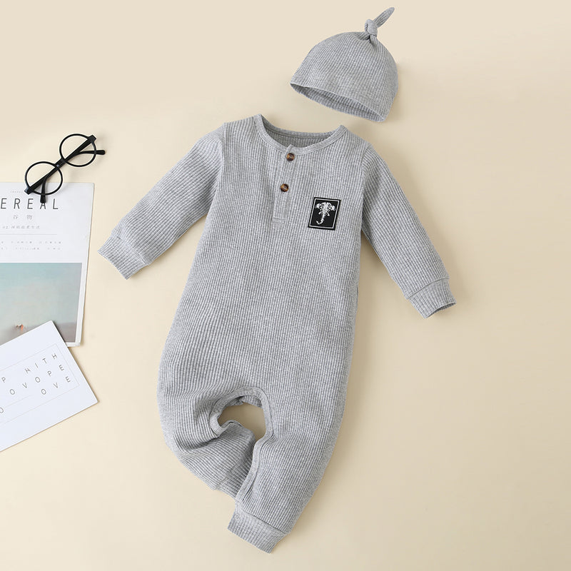 Baby Solid Button Long Sleeve Rompers & Hat