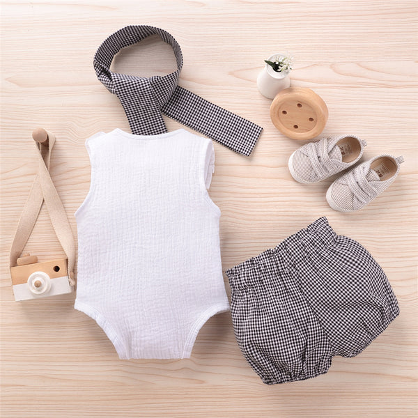Baby Girls Solid Button Sleeveless Romper & Plaid Shorts & Headband Wholesale Designer Baby Clothes