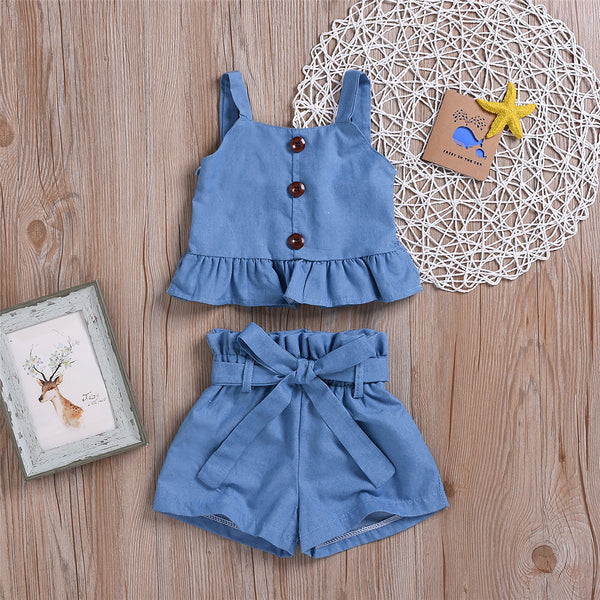 Girls Solid Button Sling Top & Shorts childrens wholesale clothing