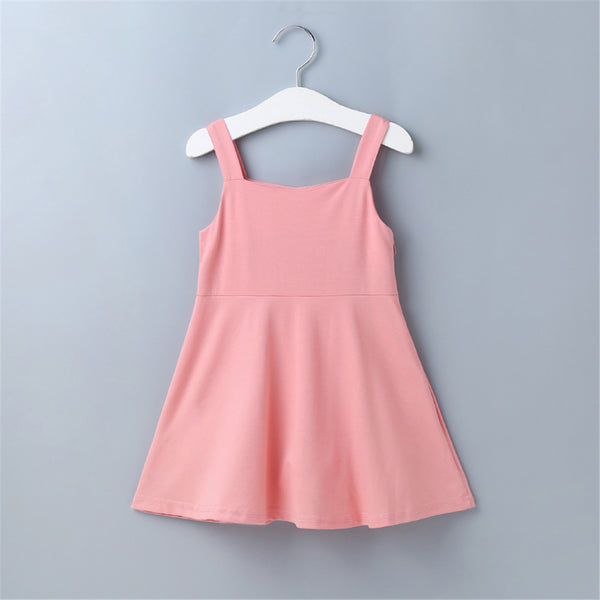 Girls Solid Button Solid Pink Suspender Dress Buy Wholesale Kids Clothing