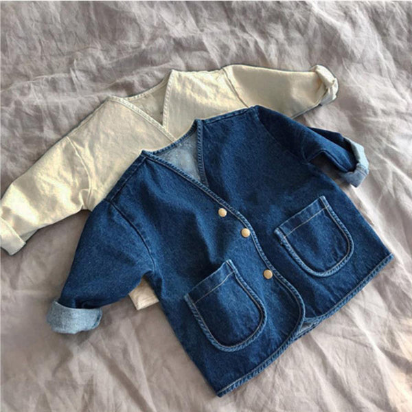 Baby Girls Solid Cardigan Denim Jacket Baby Boutique Clothing Wholesale