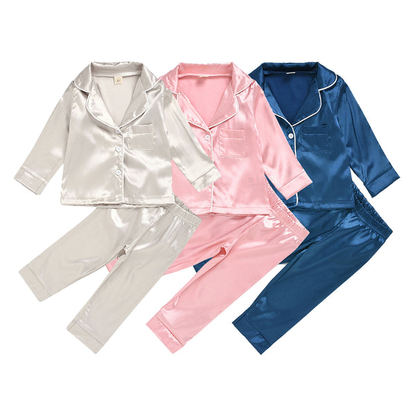 Girls Solid Cardigan Long Sleeve Pajamas Suit Wholesale Childrens Pajamas