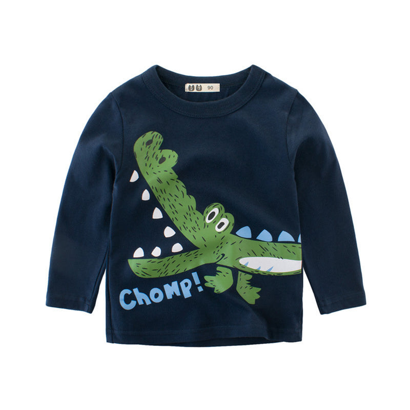Boys Solid Casual Dino Cartoon Printed Long Sleeve T-shirt