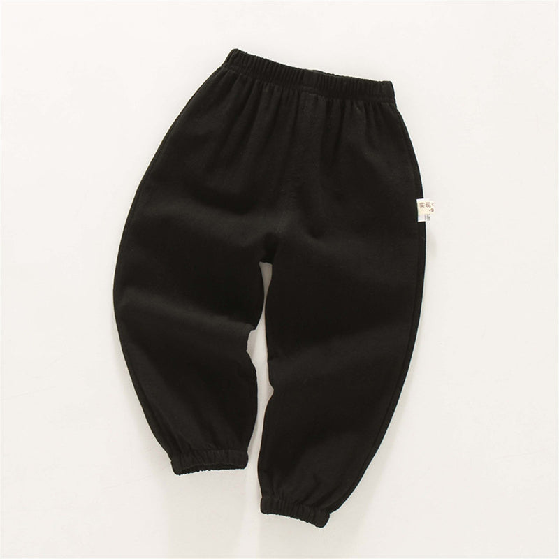 Boys Solid Casual Elastic Waist Pants