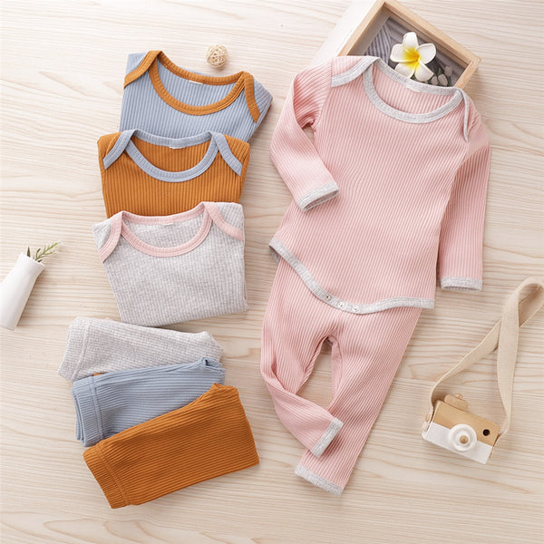 Baby Boys Solid Casual Long Sleeve Romper & Trousers Baby Rompers Wholesale
