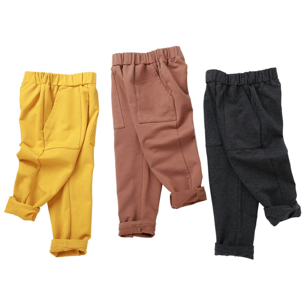 Boys Solid Casual Pockets Pants Wholesale Kid Clothing