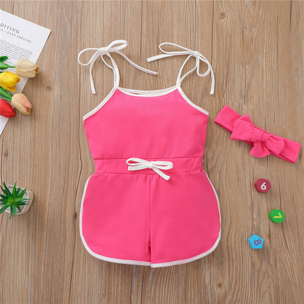Baby Girls Solid Casual Sling Romper & Headband cheap baby girl clothes boutique