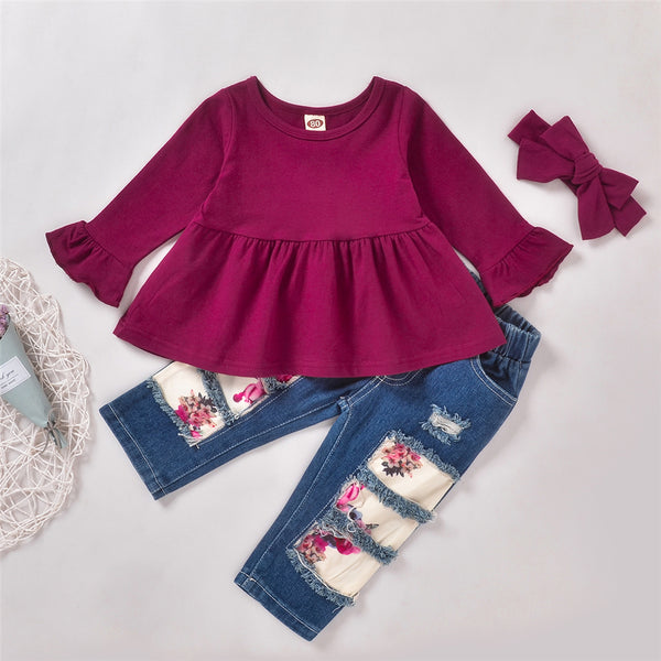 Girls Solid Casual Top & Jeans & Headband Wholesale Little Girl Clothing