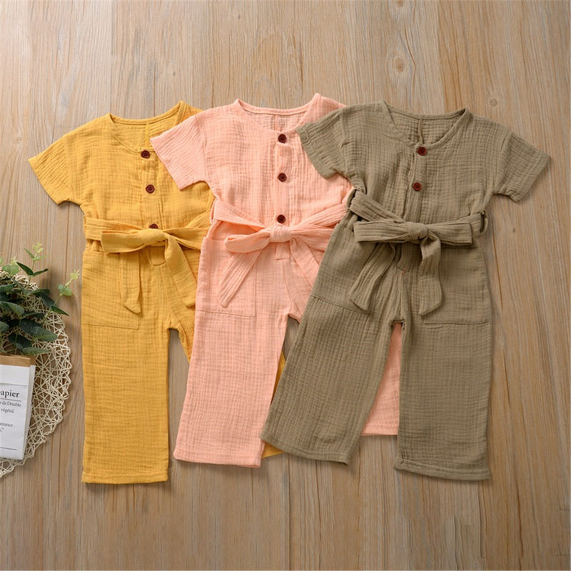 Girls Solid Color Big Pocket Short Sleeve Jumpsuit & Belt Wholesale Girl Clothing