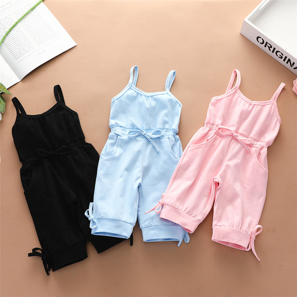 Girls Solid Color Bow Decor Pocket Sling Jumpsuit kids clothing wholesale