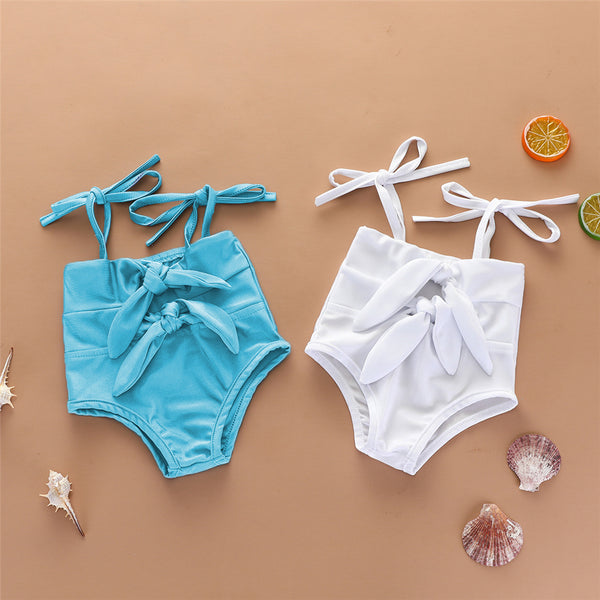 Baby Girls Solid Color Bow Decor Sling Swimwear Toddler One Piece Swimsuit