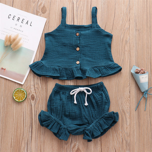 Girls Solid Color Button Casual Tank Top & Shorts wholesale children's boutique clothing suppliers usa