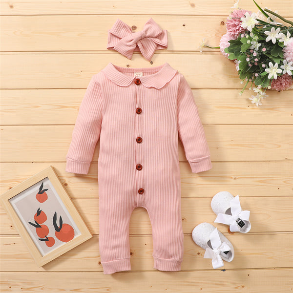 Baby Girls Solid Color Button Long Sleeve Casual Romper & Headband Baby Clothes Vendors